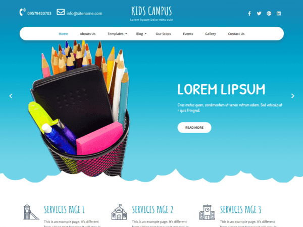 Free Kids Campus WordPress theme