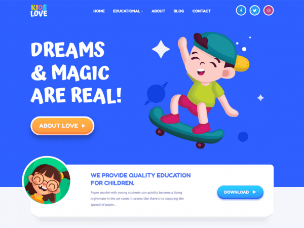 Free Kids Love WordPress theme