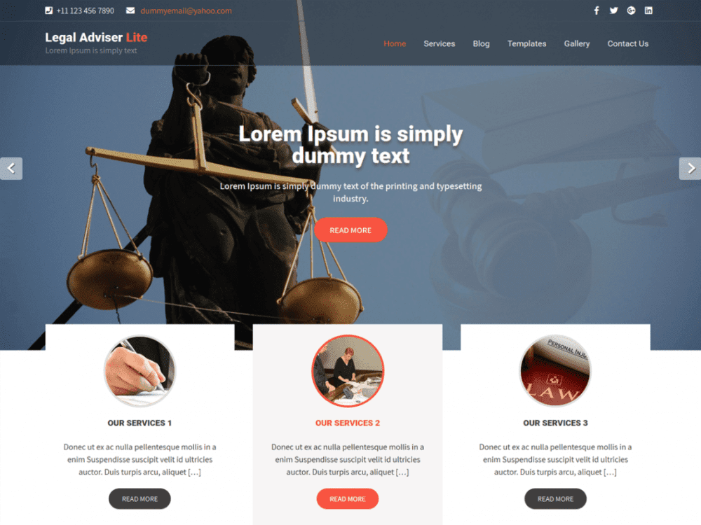 Free Legal Adviser Lite WordPress theme