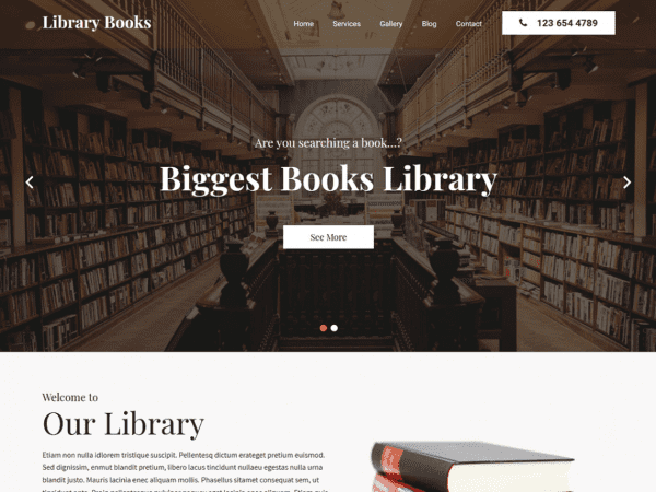Free Library Books WordPress theme