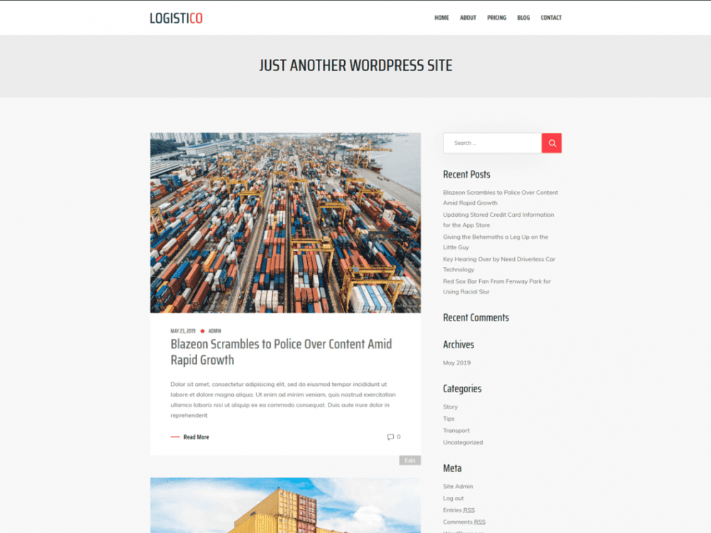 Free Logistico WordPress theme