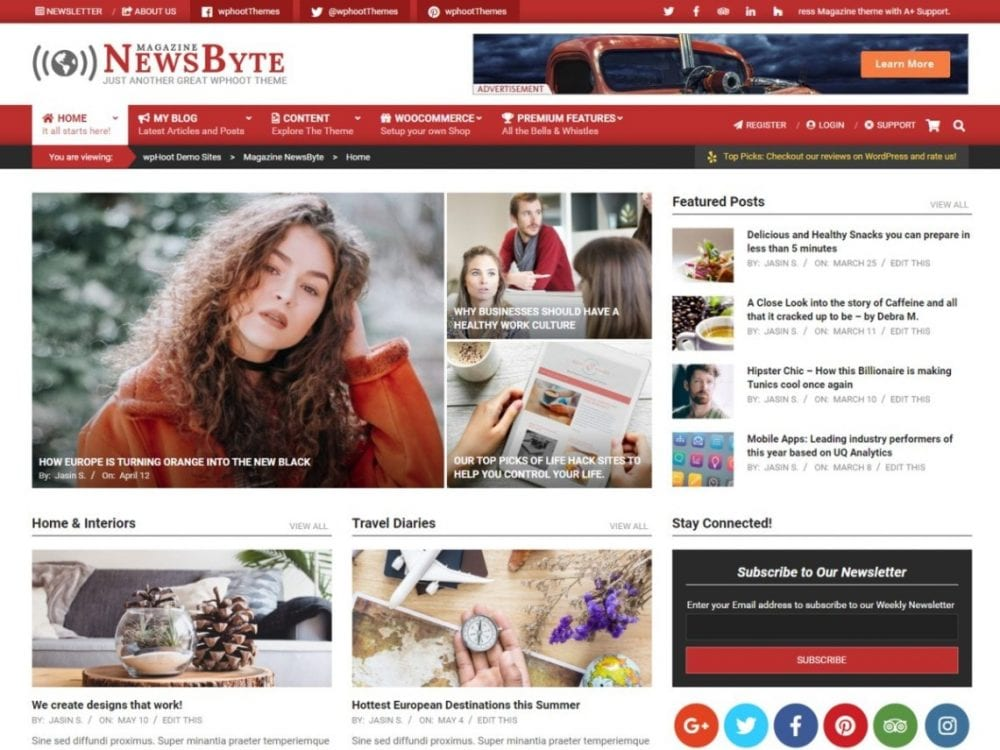 Free Magazine News Byte WordPress theme