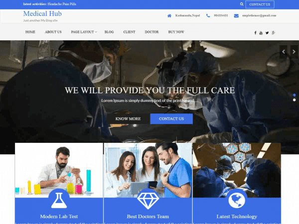 Free Medical Hub WordPress theme