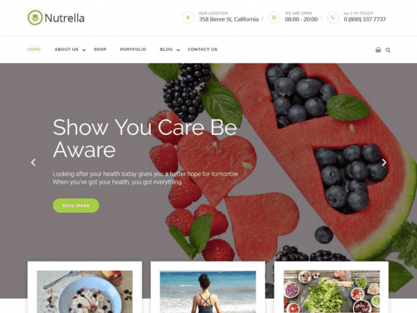 Free Nutrella WordPress theme