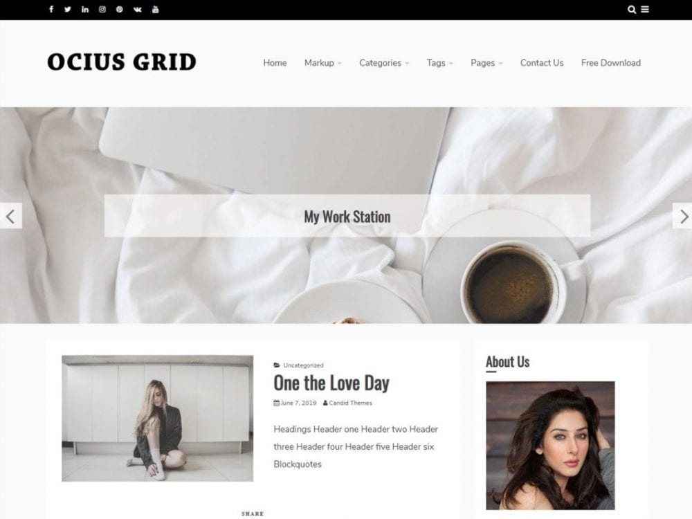 Free Ocius Grid WordPress theme