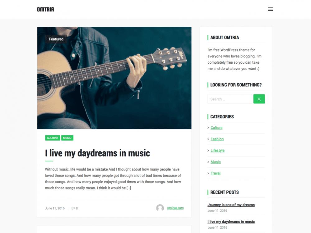 Free Omtria WordPress theme