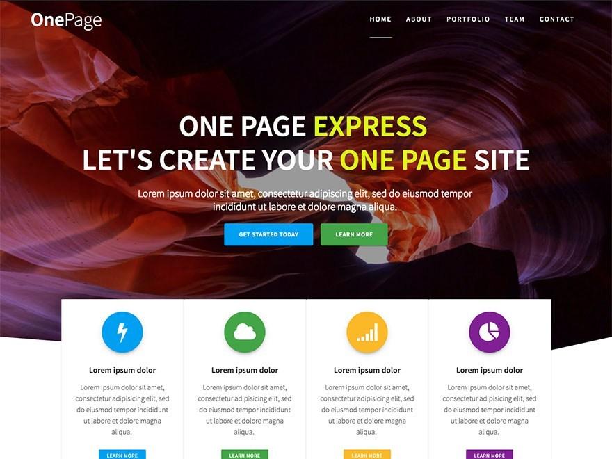 Free One Page Express WordPress theme