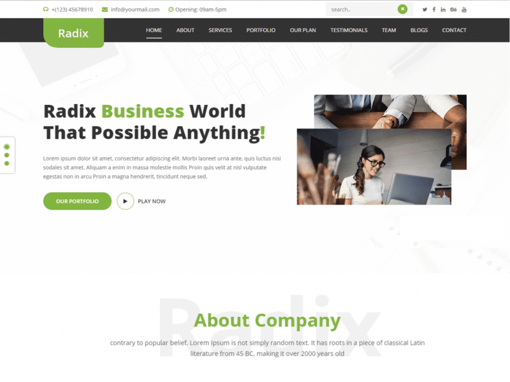 Free Radix Multipurpose WordPress theme