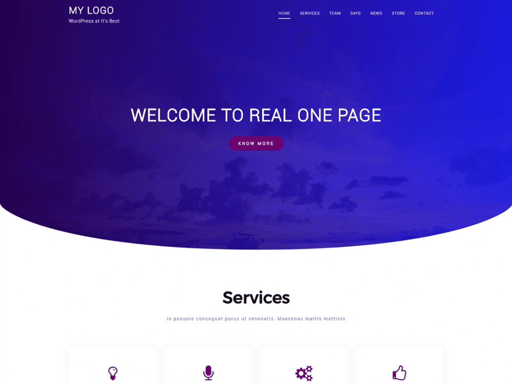 Free Real One Page WordPress theme