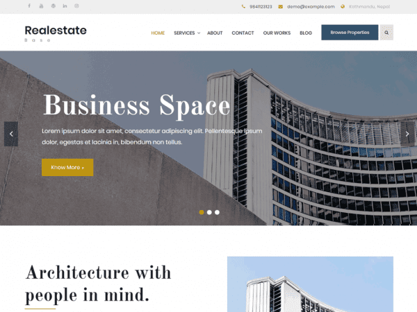 Free Realestate Base WordPress theme