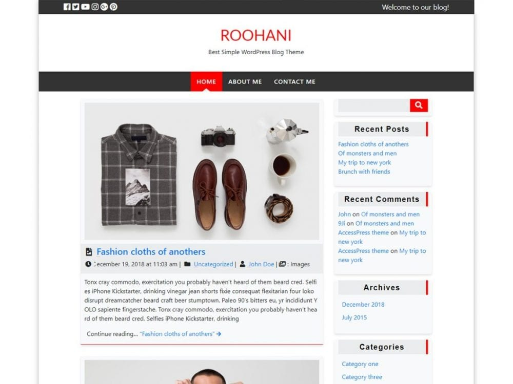 Free Roohani WordPress theme