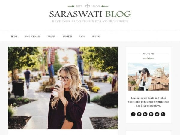 Free Saraswati Blog WordPress theme