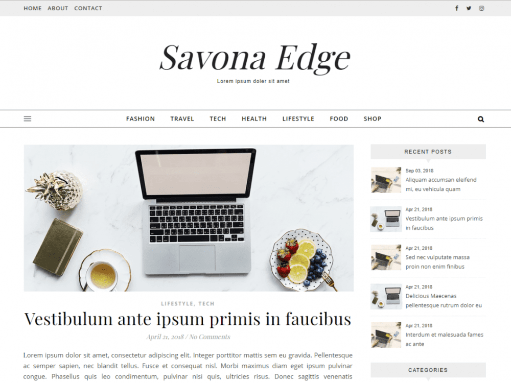 Free Savona Edge WordPress theme