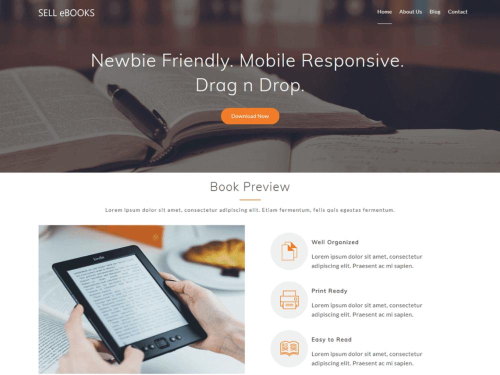 Free Sell eBooks WordPress theme