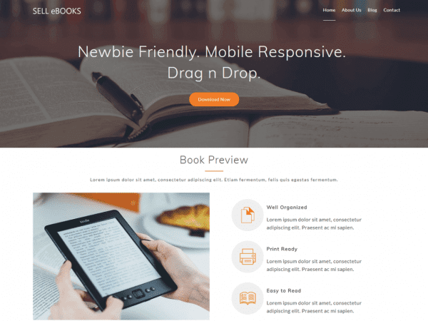 Free Sell eBooks WordPress theme