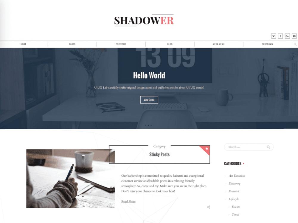 Free Shadower WordPress theme