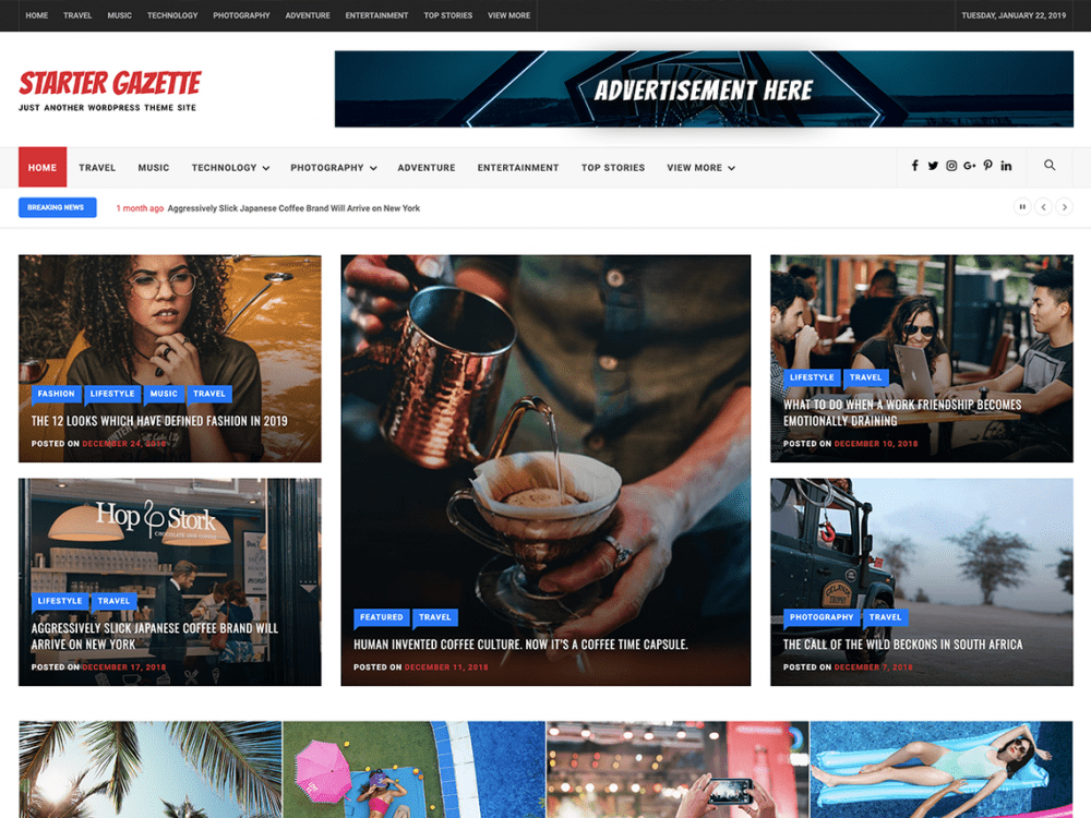 Free Starter Gazette WordPress theme
