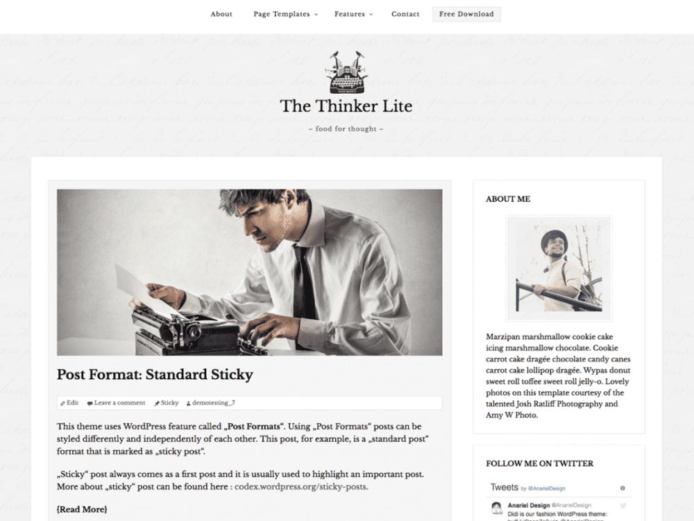 Free The Thinker Lite WordPress theme