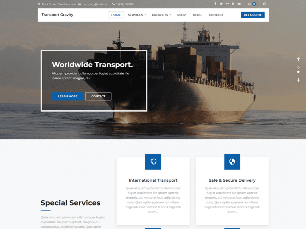 Free Transport Gravity WordPress theme
