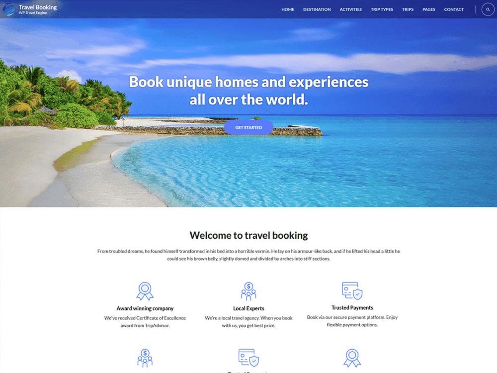 Free Travel Booking WordPress theme