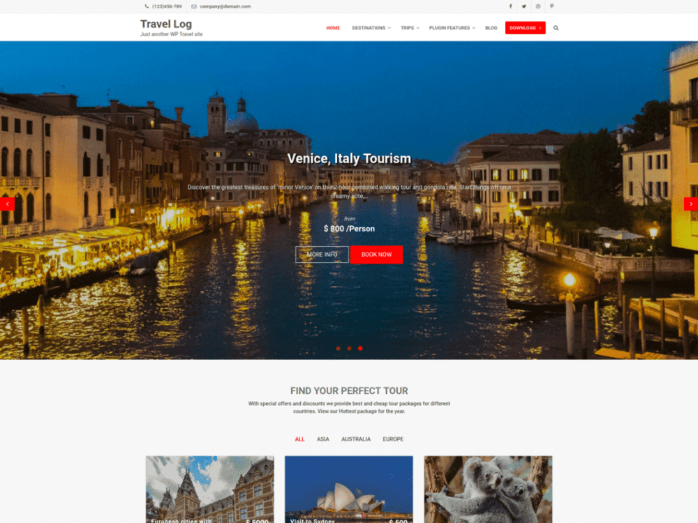 Free Travel Log WordPress theme