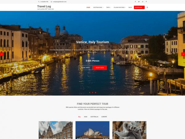 Free Travel Log WordPress theme