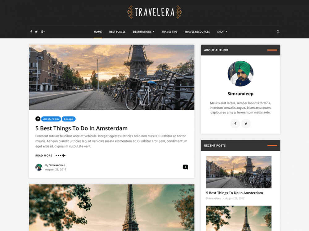 Free Travelera Lite WordPress theme