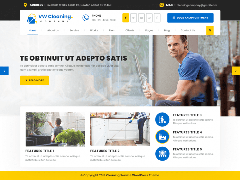 Free VW Cleaning Company WordPress theme