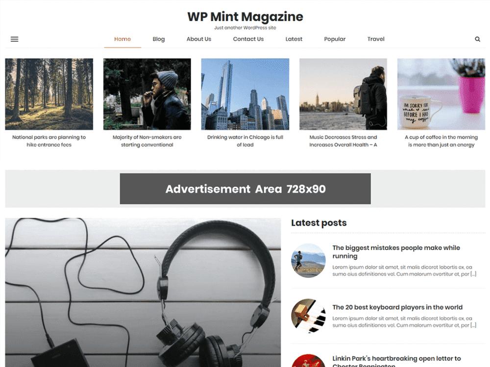 Free WP Mint Magazine WordPress theme