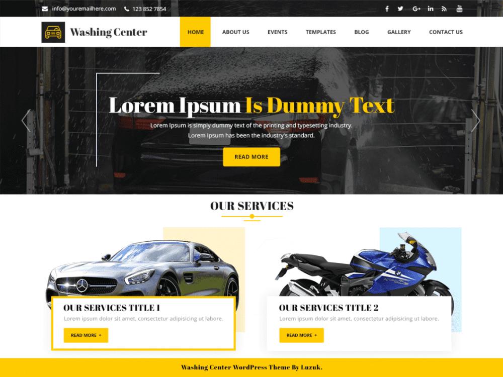 Free Washing Center WordPress theme