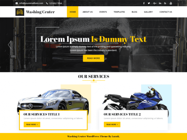 Free Washing Center WordPress theme