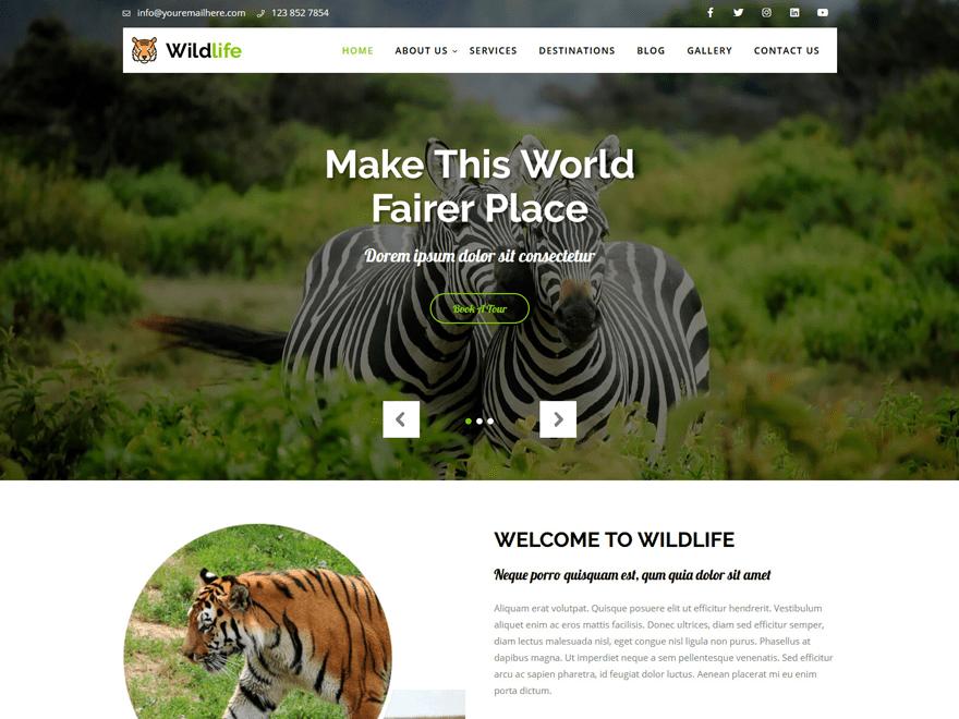 Free Wildlife Lite WordPress theme