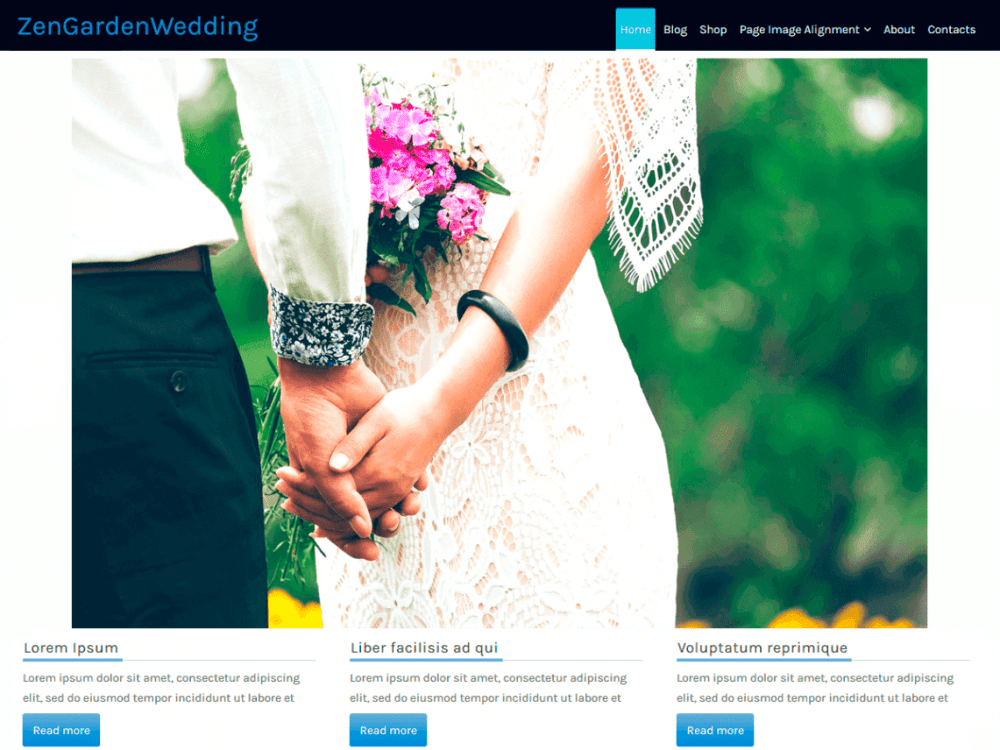Free ZenGardenWedding WordPress theme