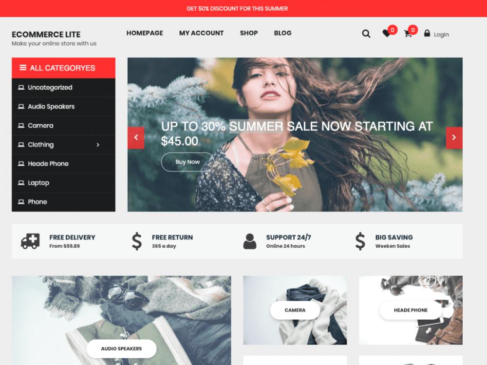 Free eCommerce Lite WordPress theme