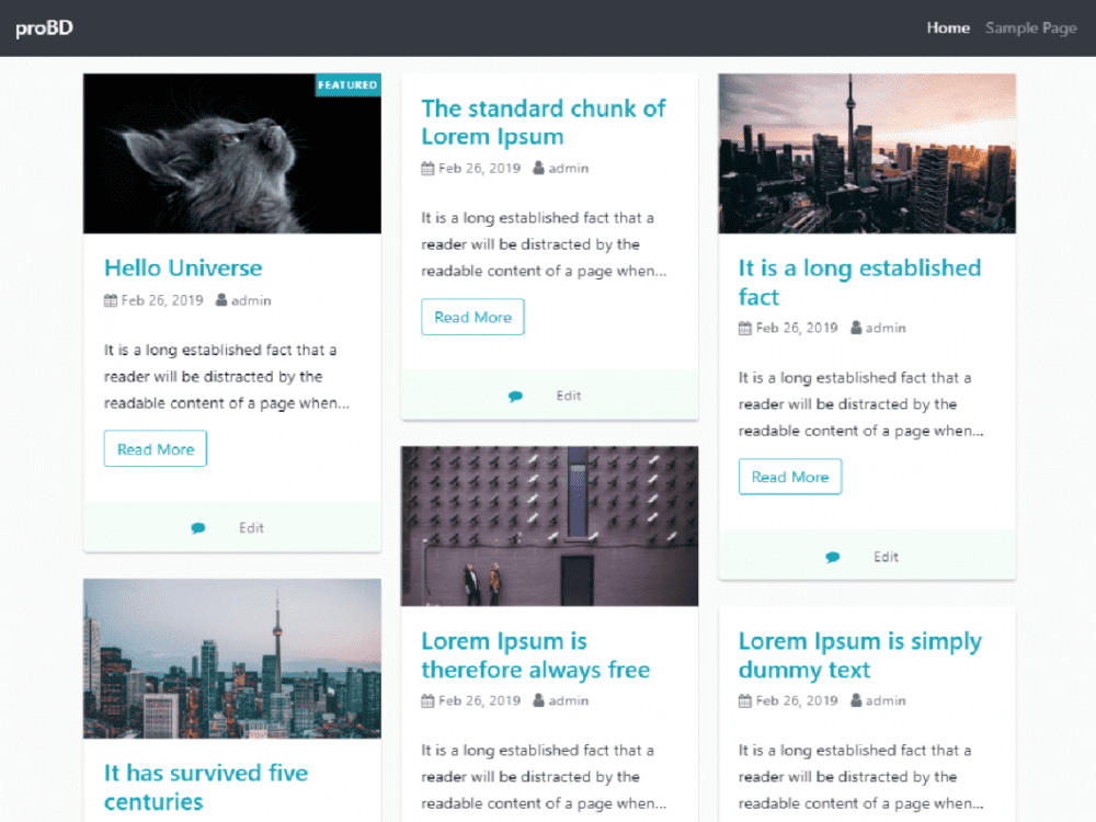Free proBD WordPress theme