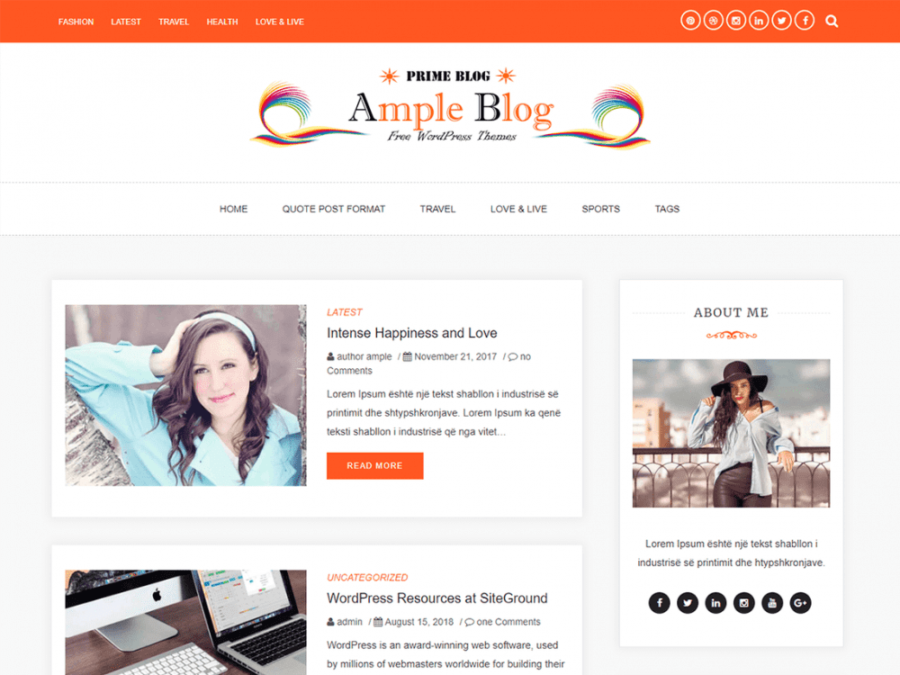 Free Ample Blog WordPress theme