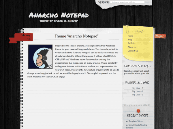 Free Anarcho Notepad WordPress theme