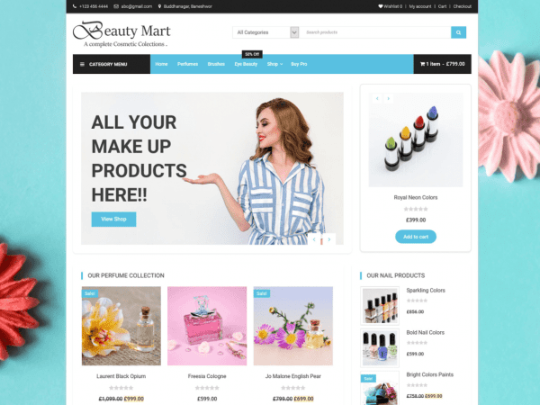 Free Beauty Mart WordPress theme