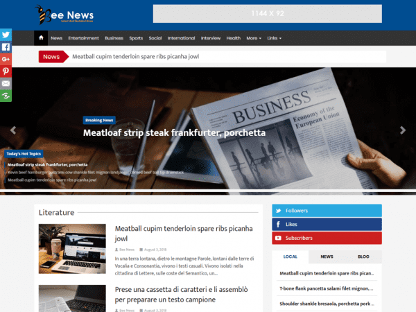 Free Bee News WordPress theme