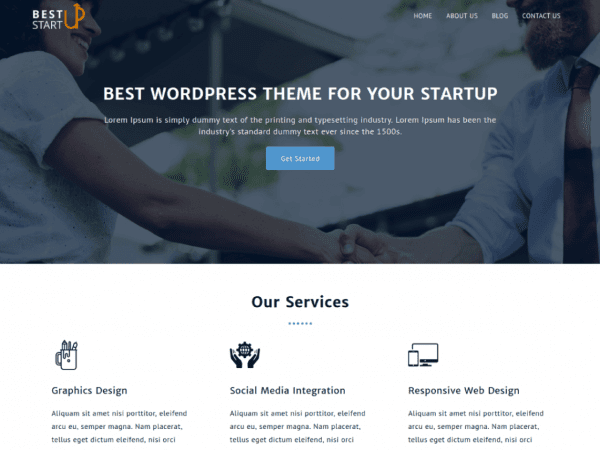 Free Best Startup WordPress theme