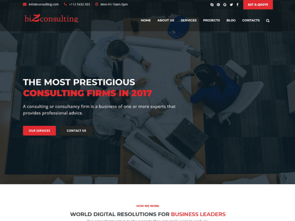 Free Bizconsulting WordPress theme