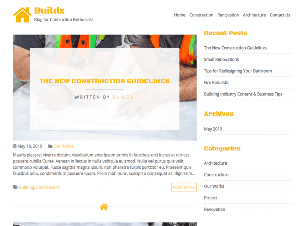 Free BuildX WordPress theme