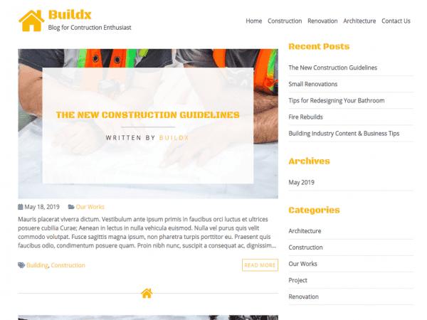 Free BuildX WordPress theme