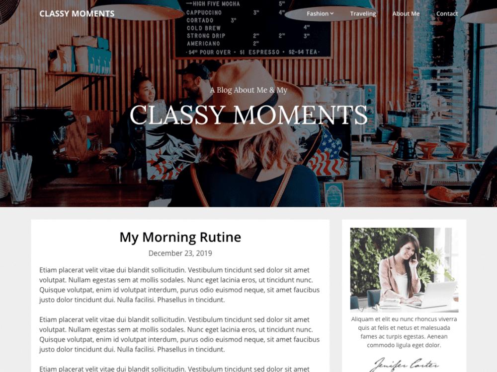Free Classy Moments WordPress theme