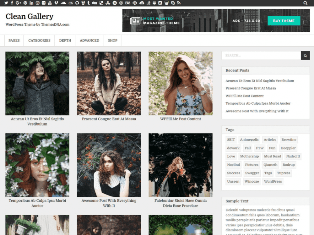 Free Clean Gallery WordPress theme