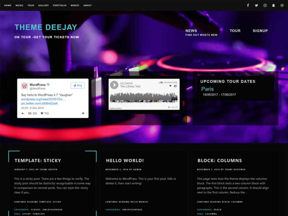 Free Deejay WordPress theme