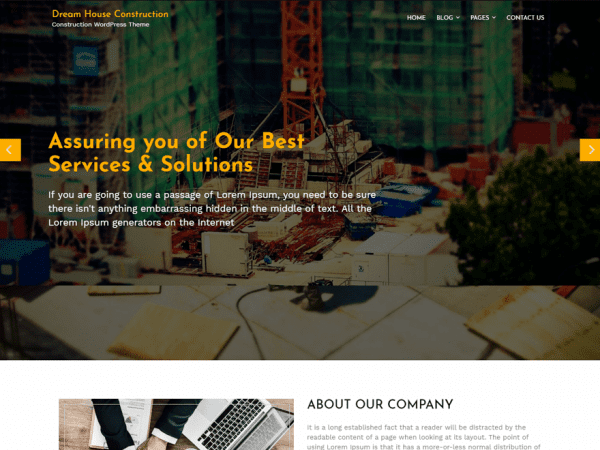 Free Dream House Construction WordPress theme