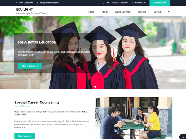 Free Edu Light WordPress theme