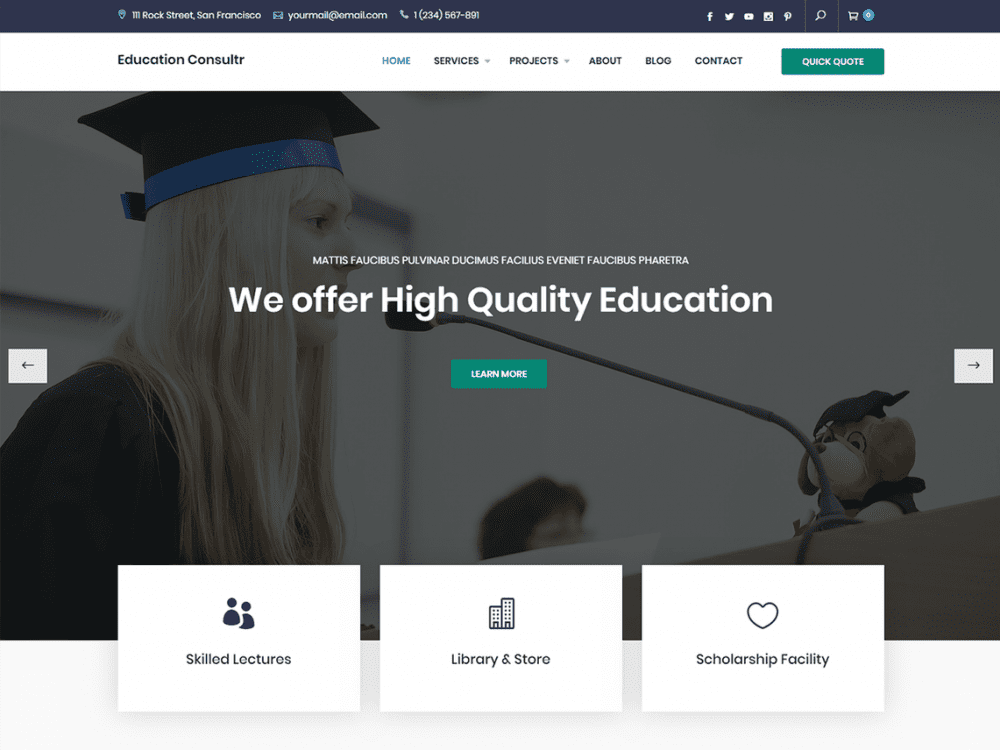 Free Education Consultr WordPress theme