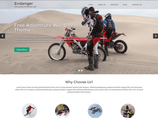Free Endanger WordPress theme